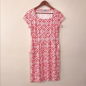 J. McLaughlin White and Coral Dress